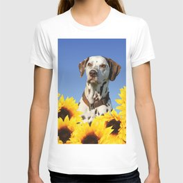 Dalmatian Dog in Field with Sunflowers T-shirt