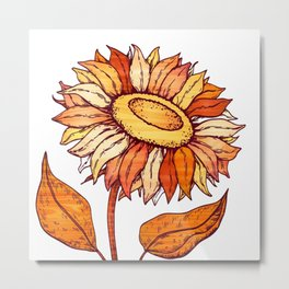 Golden Orange Flower Metal Print