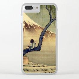Katsushika Hokusai Boy Viewing Mount Fuji Clear iPhone Case