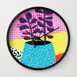Shibby - neon 80's throwback potted plant indoor garden pink yellow red grid memphis los angeles pal Wall Clock