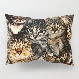 cat collage our beloved kitten cats watercolor splatters Pillow Sham