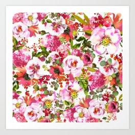 Pink lilac orange watercolor botanical roses floral Art Print