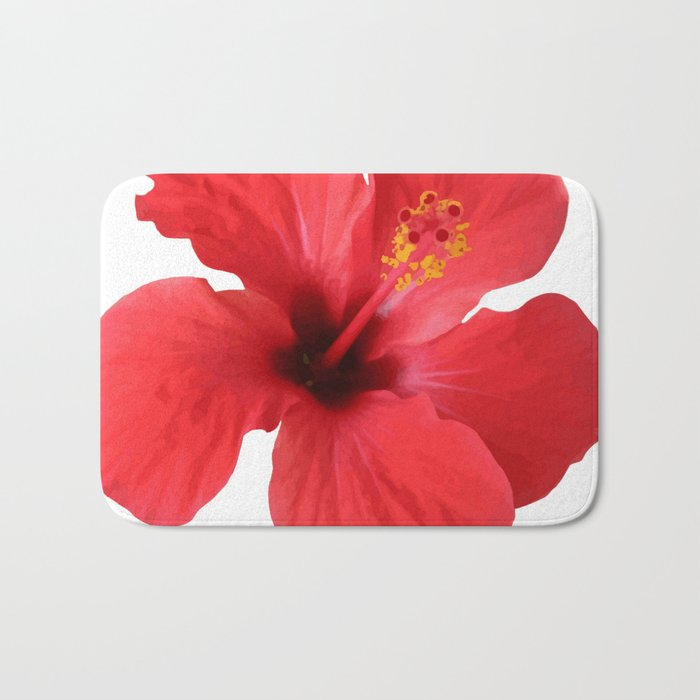 Scarlet Hibiscus Tropical Flower Vector Bath Mat