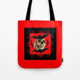 HALLOWEEN BAT INFESTED HAUNTED SKULL RED ART DESIGN Tote Bag
