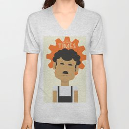 Charlie Chaplin, Modern Times, minimal movie poster, classic film, Charlot, Hollywood Unisex V-Neck