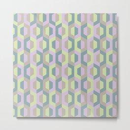 Pastel Two Tone Hexagon Metal Print