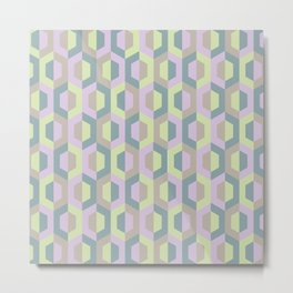 Pastel Two Tone Hexagon Metal Print