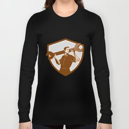 Mechanic Lifting Spanner Wrench Shield Retro Long Sleeve T-shirt