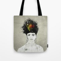 transformer Tote Bags featuring I'm not what you see by gwenola de muralt