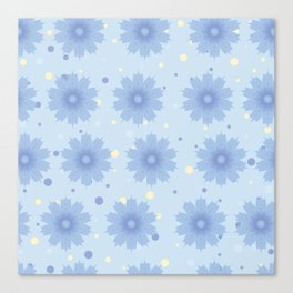 Blue shades blend flowers with polka dot background Canvas Print