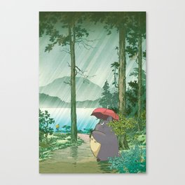 Anime and vintage japanese woodblock mashup Canvas Print