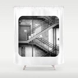 Steel Stairway (BW) Shower Curtain