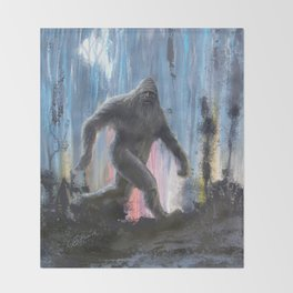 Bigfoot at Twilight Throw Blanket