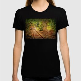 Old train track and speed sign T-shirt