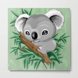 Koala Baby on the Eucalypt Branch Metal Print