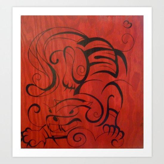 Wooden Tiger Art Print