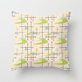 Mid Century Modern in Lime and Blush Throw Pillow