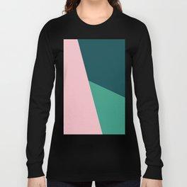 Geometric design in pink & green Long Sleeve T-shirt