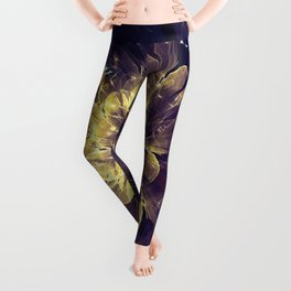 Flower Of Liberty - Golden Blue Flower Leggings