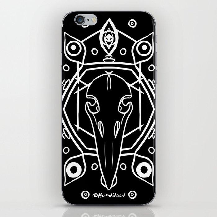 Raven Skull (All-Seeing) - White iPhone Skin