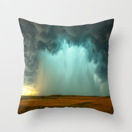 Open the Heavens - Panoramic Storm with Teal Hue in Northern Oklahoma Throw Pillow