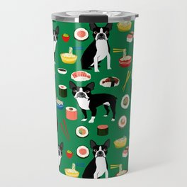 Boston Terrier sushi funny dog art pattern gifts for dog lover pet portrait Travel Mug