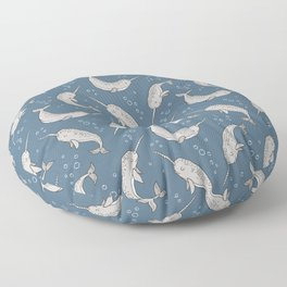 Narwhal  Grey on Navy Blue Floor Pillow