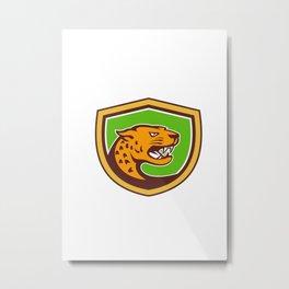 Jaguar Head Side Growling Shield Retro Metal Print