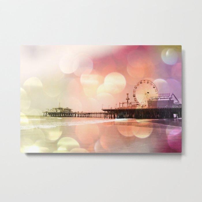 Sparkling pink Santa Monica Pier Metal Print