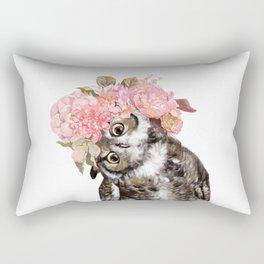 Owl with Beautiful Flowers Crown Rectangular Pillow