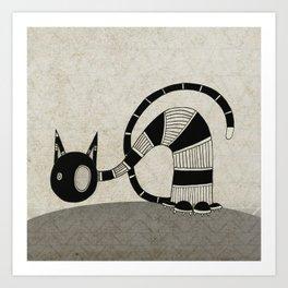 Black Curious Cat I Art Print