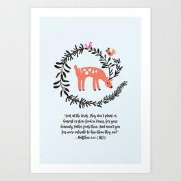 Deer & Birds Art Print