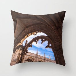 Cloisters of Jeronimos Monastery in Lisbon, Portugal Throw Pillow