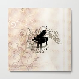 Music, piano with key notes and clef Metal Print