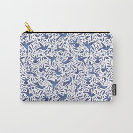 Delft Blue Humming Birds & Leaves Pattern Carry-All Pouch