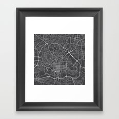 Raleigh Map, USA - Gray Framed Art Print