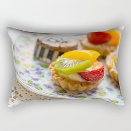 Small fruit tarts laid out on an antique china plate Rectangular Pillow