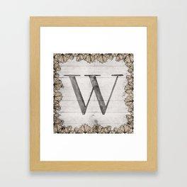 Neutral Monogram W Framed Art Print