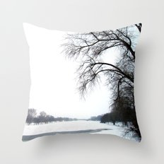 frozen lake. Throw Pillow