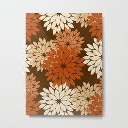 Modern Floral Kimono Print, Dark Brown, Beige and Rust Metal Print