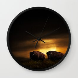 Two American Buffalo Bison with Moon Rise Wall Clock