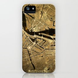 amsterdam map gold iPhone Case