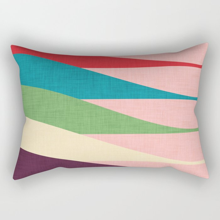 Mid century Modern Waves Pink Rectangular Pillow