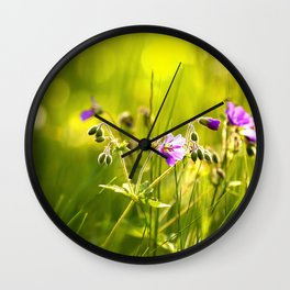 Beautiful meadow flowers - geranium on a sunny day - brilliant bright colors Wall Clock