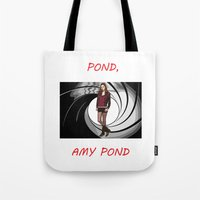 amy pond Tote Bags featuring Pond, Amy Pond by DarkCrow
