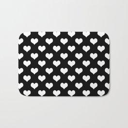 Black White Hearts Minimalist Bath Mat