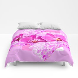 CERISE PINK ORCHID FLOWERS  WHITE PATTERN ABSTRACT Comforters