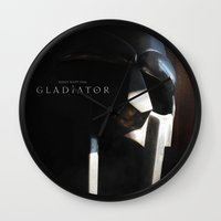 gladiator Wall Clocks featuring Gladiator Movie Poster Style A - The Helmet of Maximus by tanman1