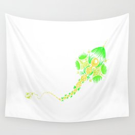 Abstract kite - Green and yellow Wall Tapestry