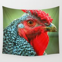 rooster Wall Tapestries featuring Rooster by Nichole B.